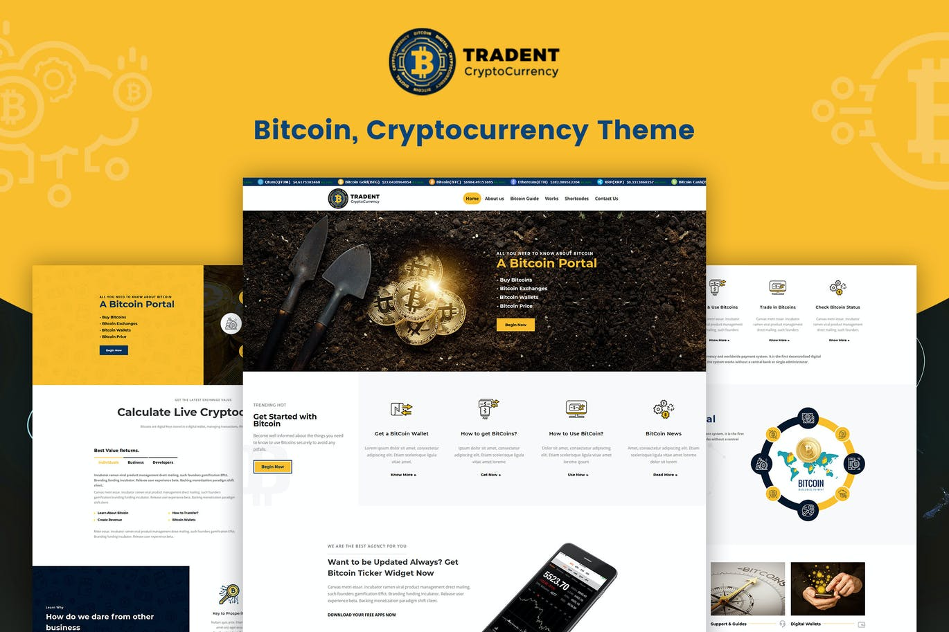 Tradent Cryptocurrency - Bitcoin, Crypto Theme - Premium creative assets